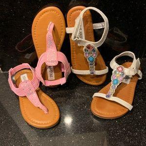 2Pair Girls Steve Madden Sandals Bling Beads 10